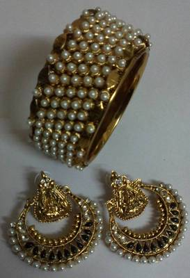Traditional Pearl Kada with Ram Leela Earings