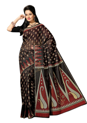 Triveni Sophisticated Black Colored Cotton Printed Indian Traditional Saree