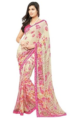 Triveni Lovely Cream Colored Casual Printed Faux Georgette Indian Designer Saree