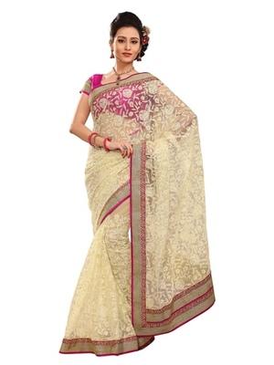 Triveni Stylish Cream Colored Border Work Indian Designer Beautiful Saree