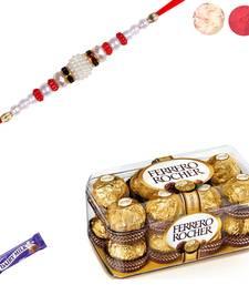Buy Ferrero rocher chocolate with pearl rakhi pearl-rakhi-design online