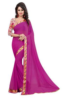 rani pink plain nazneen saree With Blouse