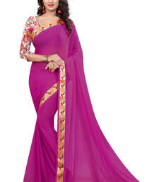 Buy rani pink plain nazneen saree With Blouse ethnic-saree online