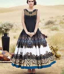 Buy Styles Closet Black bhagalpuri silk printed semi stitched salwar with dupatta anarkali-salwar-kameez online