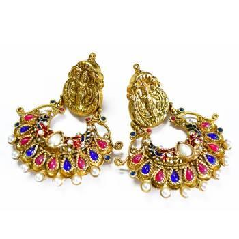 Deepika Padukone's 'RamLeela' Inspired Blue-Pink Temple Earrings By Via Mazzini