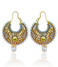 Buy White Flower Pearl Bali Polki Earring ha071 hoop online