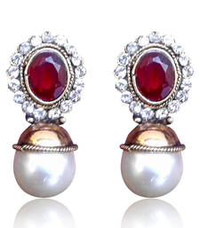Buy Elegant Red stone with Pearl Earring By Adiva V74M DDS 13 stud online