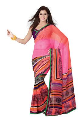 Fabdeal Casual Wear Orange & Pink Colored Marble Chiffon Saree