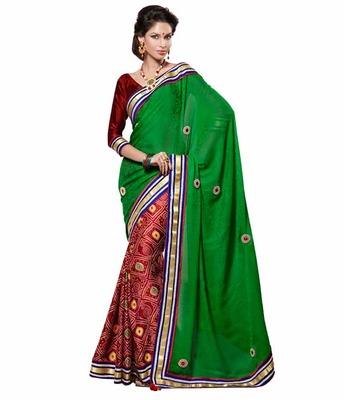 Dealtz Fashion Multi Embroidery Green Chiffon Jacquard Saree