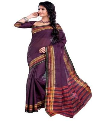 Dealtz Fashion Purple Cotton  Saree