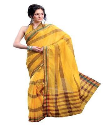 Dealtz Fashion Yellow Cotton  Saree