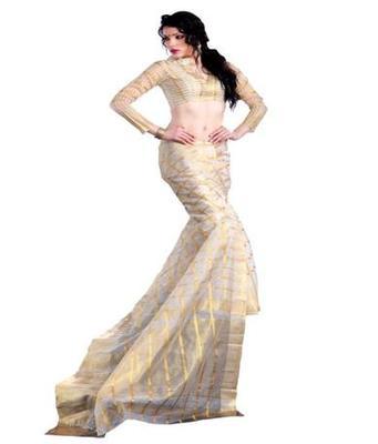 Dealtz Fashion Off-White Cotton  Saree