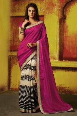 beautiful rani color saree