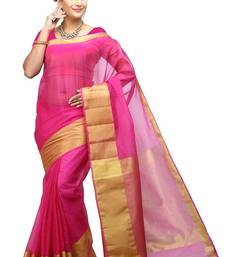 Buy light pink woven organza saree With Blouse organza-saree online