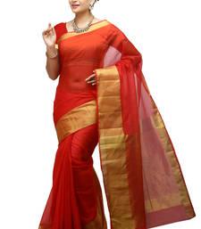 Buy red woven organza saree With Blouse organza-saree online