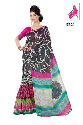 Riti Riwaz Classy Printed Saree in Barcode Silk  Fabric  With Un-Stitch Blouse Piece in Classy Black Color 5241