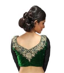 Buy Green velvette embroidered full sleeves blouse readymade-blouse online