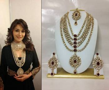Famous Bollywood Replica Jewelry Set in Maroon with Pearls