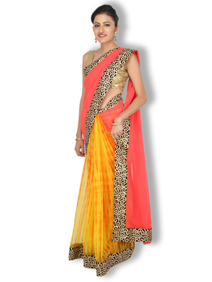Red embroidred kota silk saree with blouse