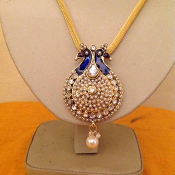 GOLD TONE dark blue colour PEACOCK CRYSTAL necklace SET & jhumki earring