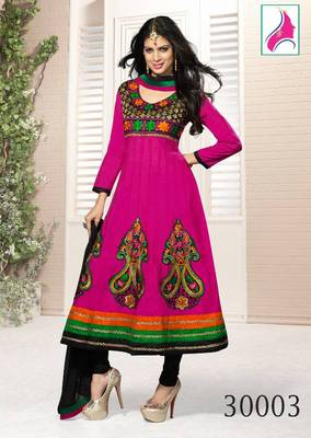 RITI RIWAZ Artistic Dyed Suit in Pure Chanderi Fabric  & With Awesome  Magenta Color  30003