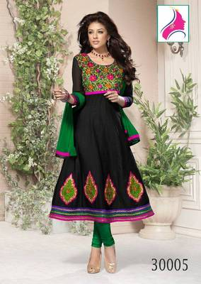 RITI RIWAZ Stunning Heavy Embroidered Suit in Pure Chanderi Fabric  & With Awesome  Black  Color  30005
