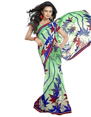 Designer Multicolor Color Chiffon Fabric Printed Saree