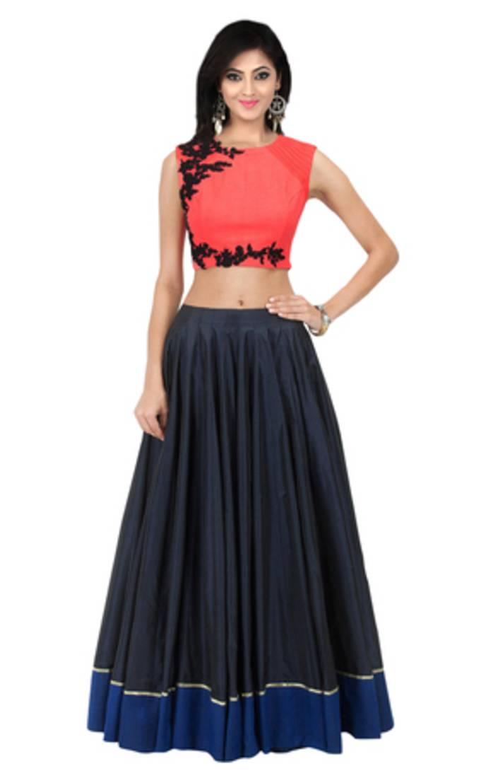Buy Black Georgette Party Wear Ghagra Choli Online