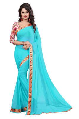 rama_green plain nazneen saree With Blouse