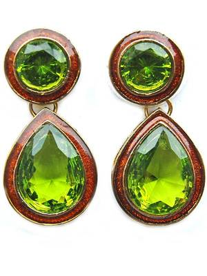 Green Golden Dailywear Festival Stud Earrings
