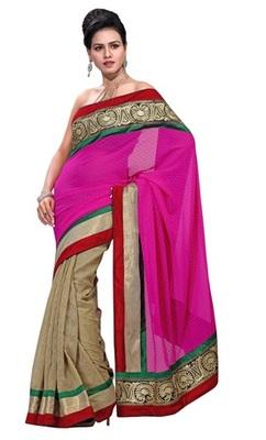 Triveni Gorgeous Contrast Pallu Broad Bordered Saree TSRH1002