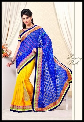 Adorable Blue & Yellow Embroidered Saree
