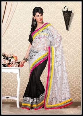 Splendorous Black & Off White Embroidered Saree