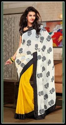 Alluring Cream & Yellow Embroidered Saree