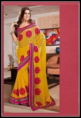 Ravishing Yellow Embroidered Saree