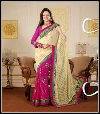 Gorgeous Buttercream & Pink Embroidered Saree