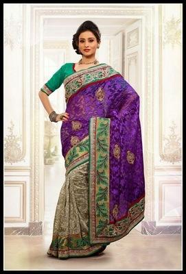 Glamorous Beige & Violet Embroidered Saree