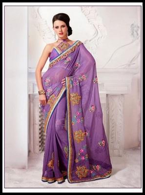 Butta Bluish Purple Embroidered Saree