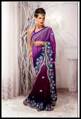 Dazzling Diva Bluish Purple, Eggplant & Navy Blue Embroidered Saree