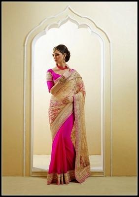 Ethnic Cream & Pink Embroidered Saree