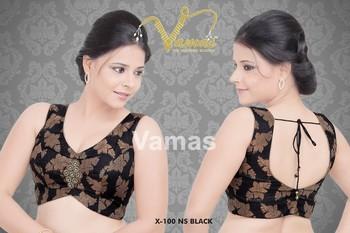 Sleeveless Printed blouse with broach. X100nsbl Black. Muhenera presents vama designer collection