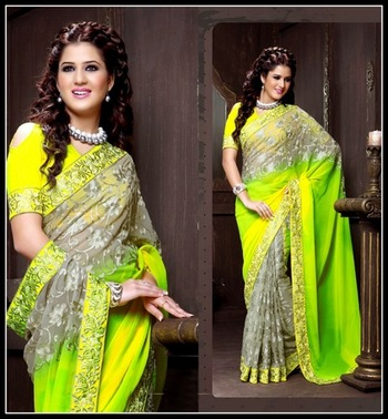 Unique Gray, Lime Green & Pale Yellow Embroidered Saree