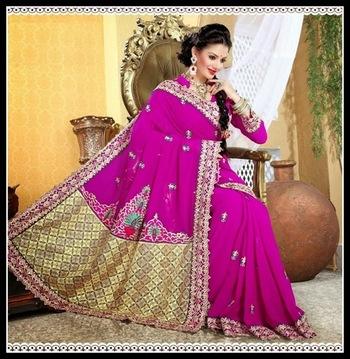 Gorgeous Magenta Embroidered Saree