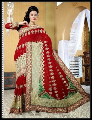 Chic Maroon Embroidered Saree