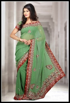 Exquisite Mint Green Embroidered Saree