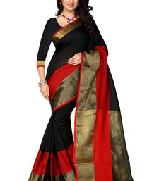 Buy Black woven cotton poly saree With Blouse cotton-saree online