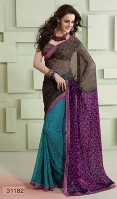 Dual color marble chiffon printed saree. 31182.