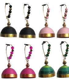 Buy Combo pack of four hanging trendy quilled jhumkas jhumka online