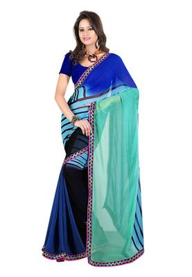 Fabdeal Blue & Black Colored Georgette Saree