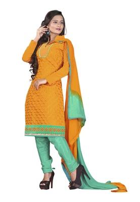 Fabdeal Orange Colored Chanderi Silk Embroidered Unstitched Salwar Kameez